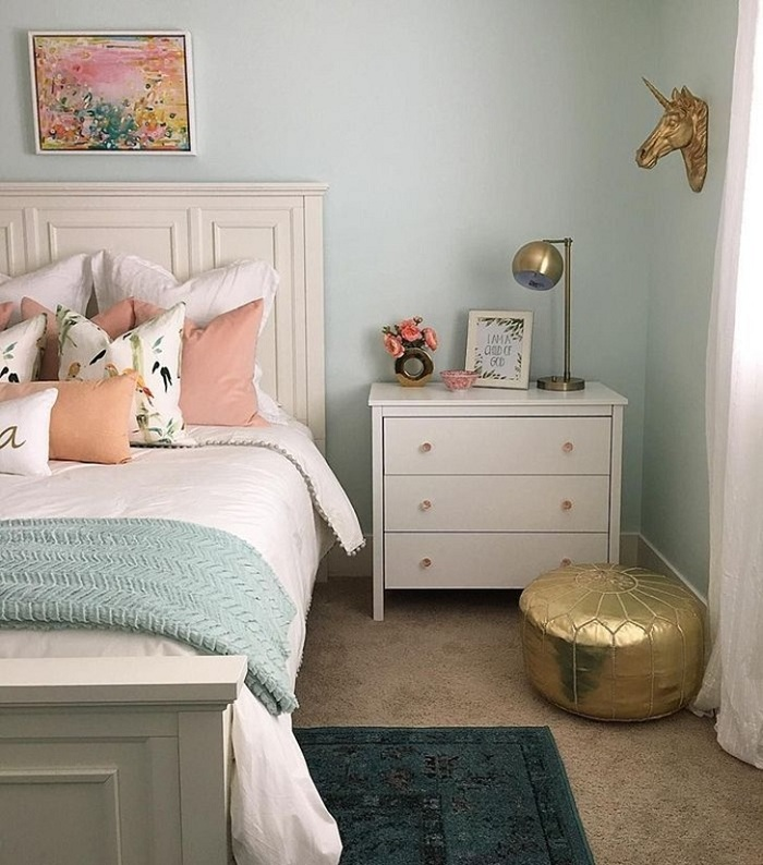 bedroom decorated soft colors