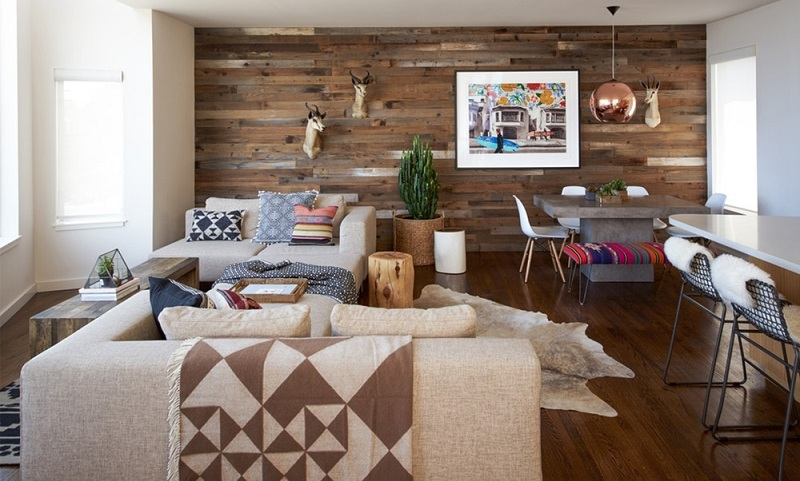 Laminate On The Wall In The Interior Of The Living Room